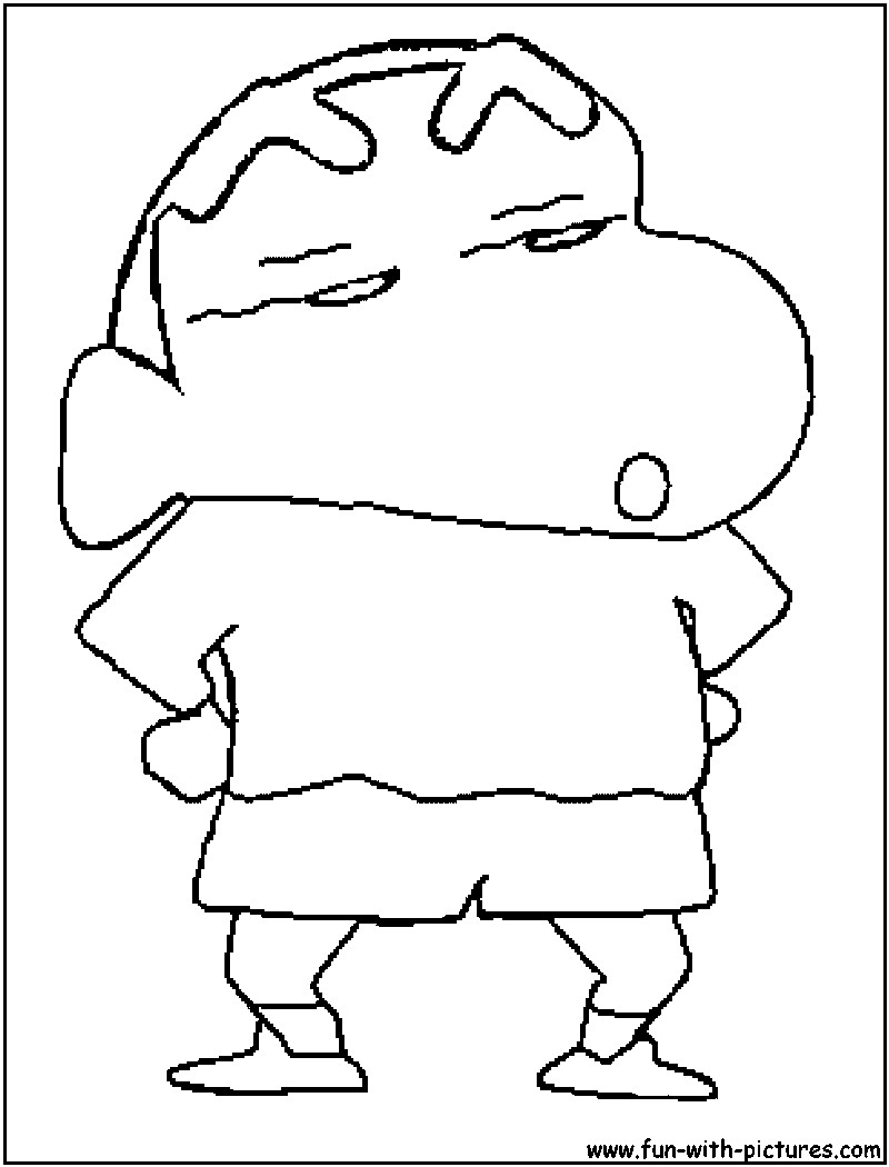 Shinchan is thinking something coloring page
