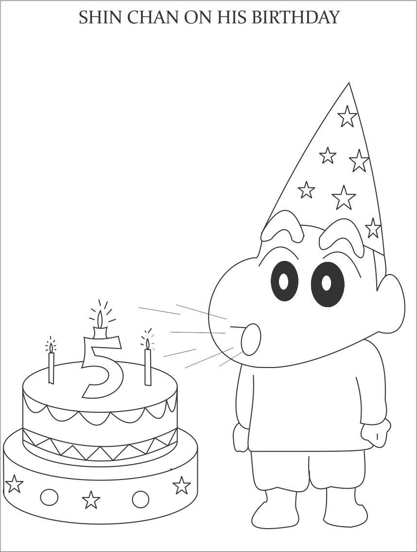Shinchan on his birthday coloring page