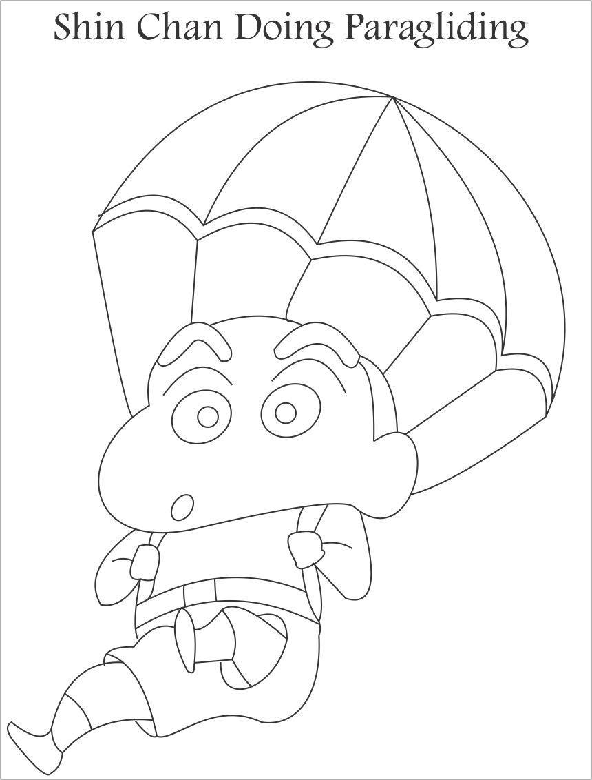 Shinchan on a parachute