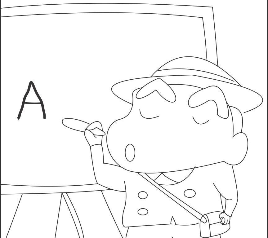 when Shinchan is a teacher coloring  page