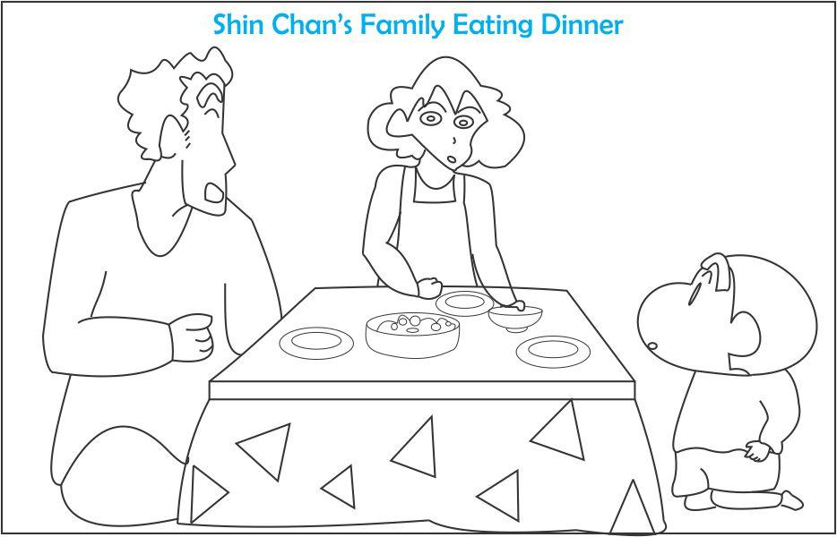 Shinchan with his crazy family