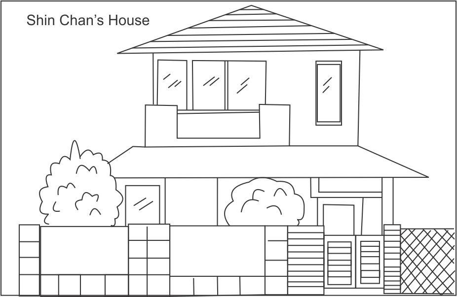 Shinchan's nice house coloring page
