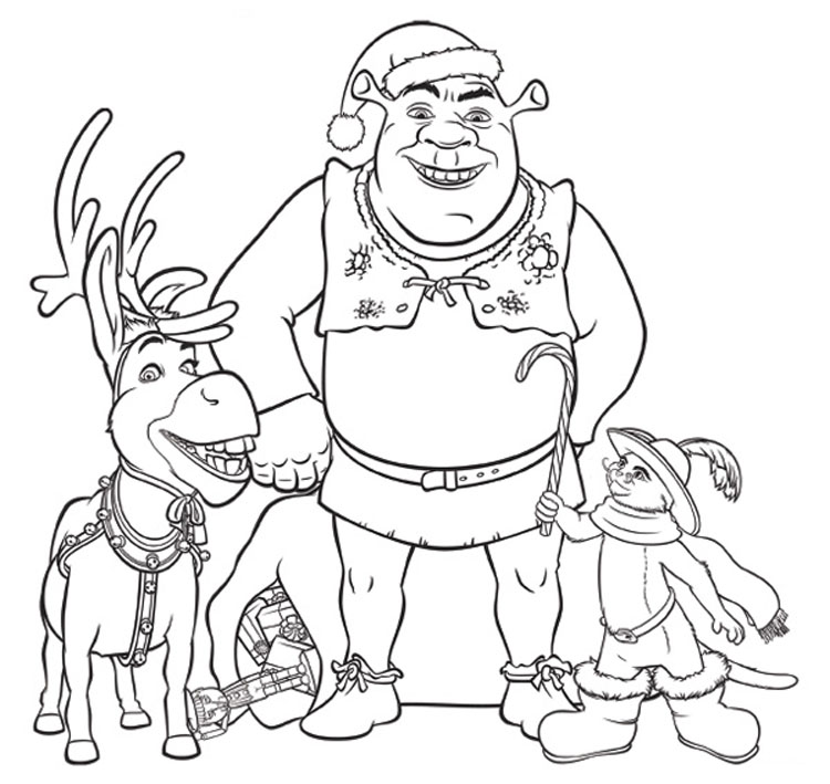 Shrek coloring pages for kids free printables for Puss in boots movie coloring pages