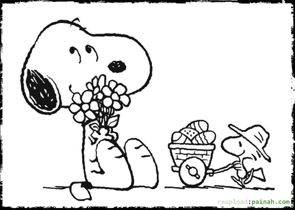 Snoopy loves flowers