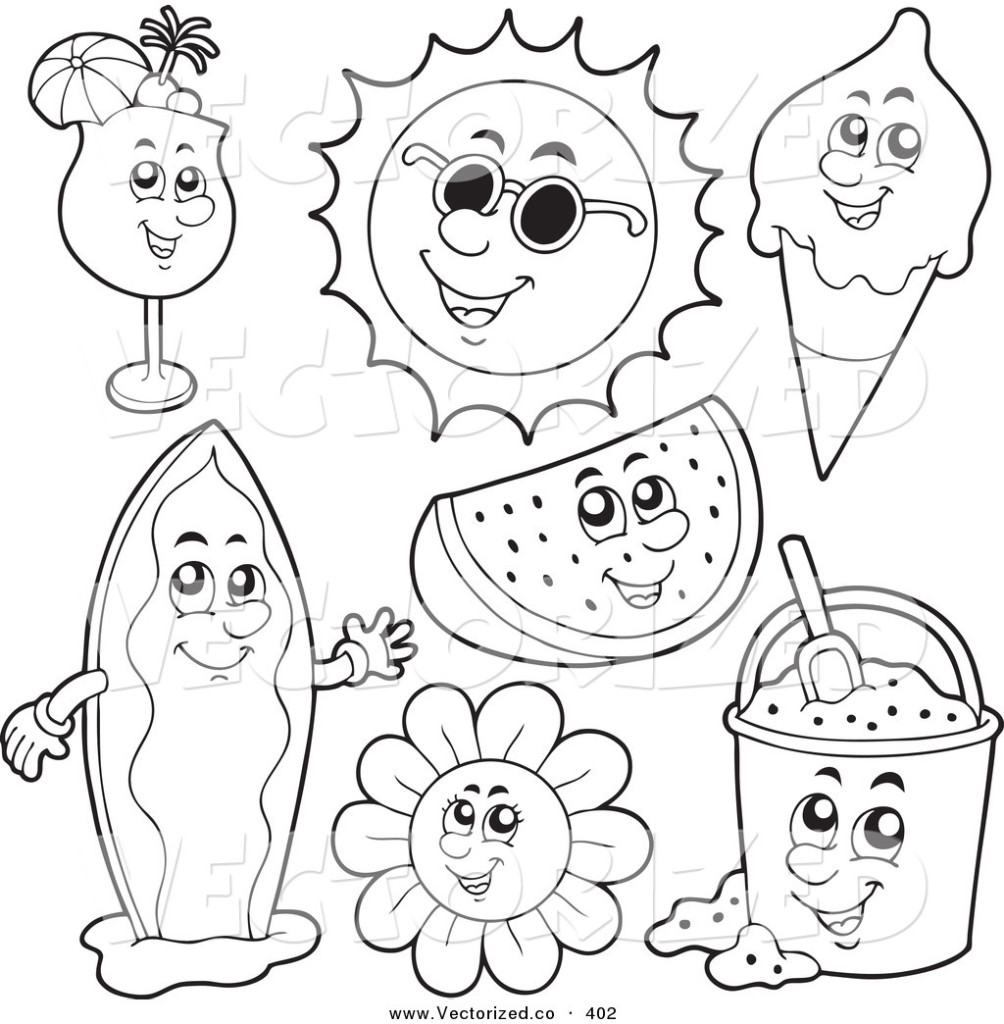 Coloring pages of summer season free printables for Seasons coloring page