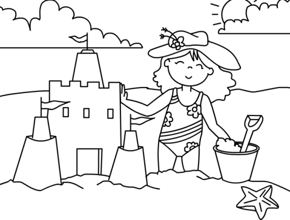 beach view in the Summer season coloring page