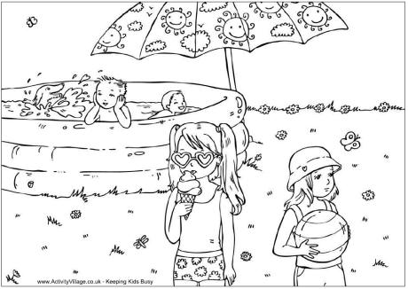 Summer season beach view coloring page