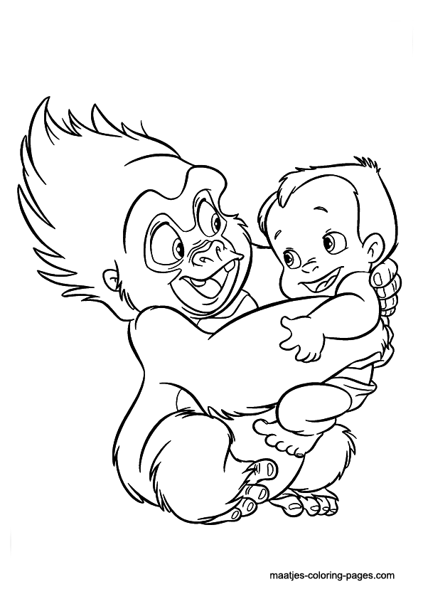 Terk with the son of Tarzan coloring page