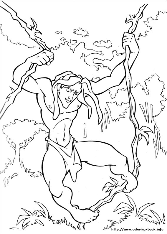 Tarzan into the woods coloring page