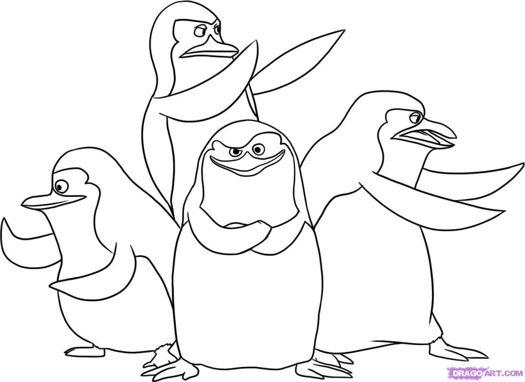 Penguins in the penguins of madagascar coloring page