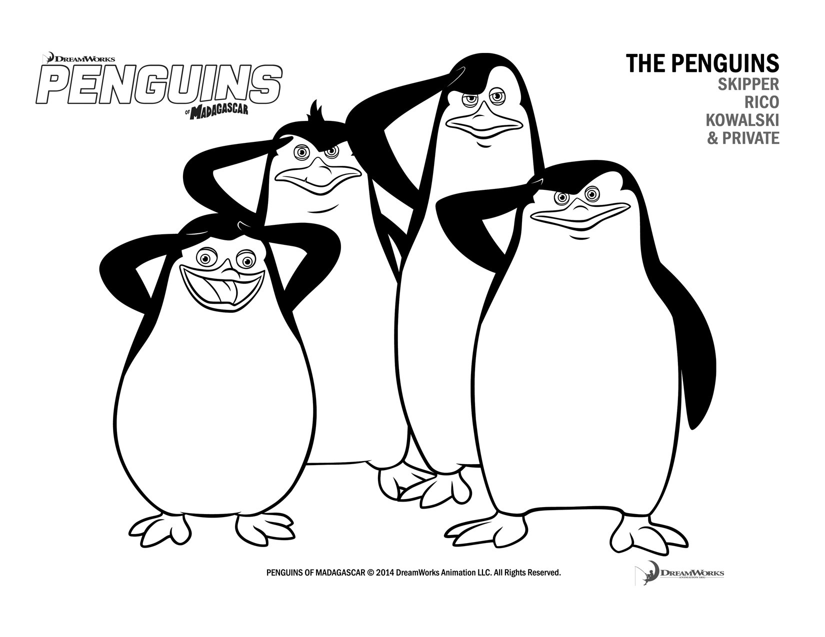penguins in Madagascar coloring page