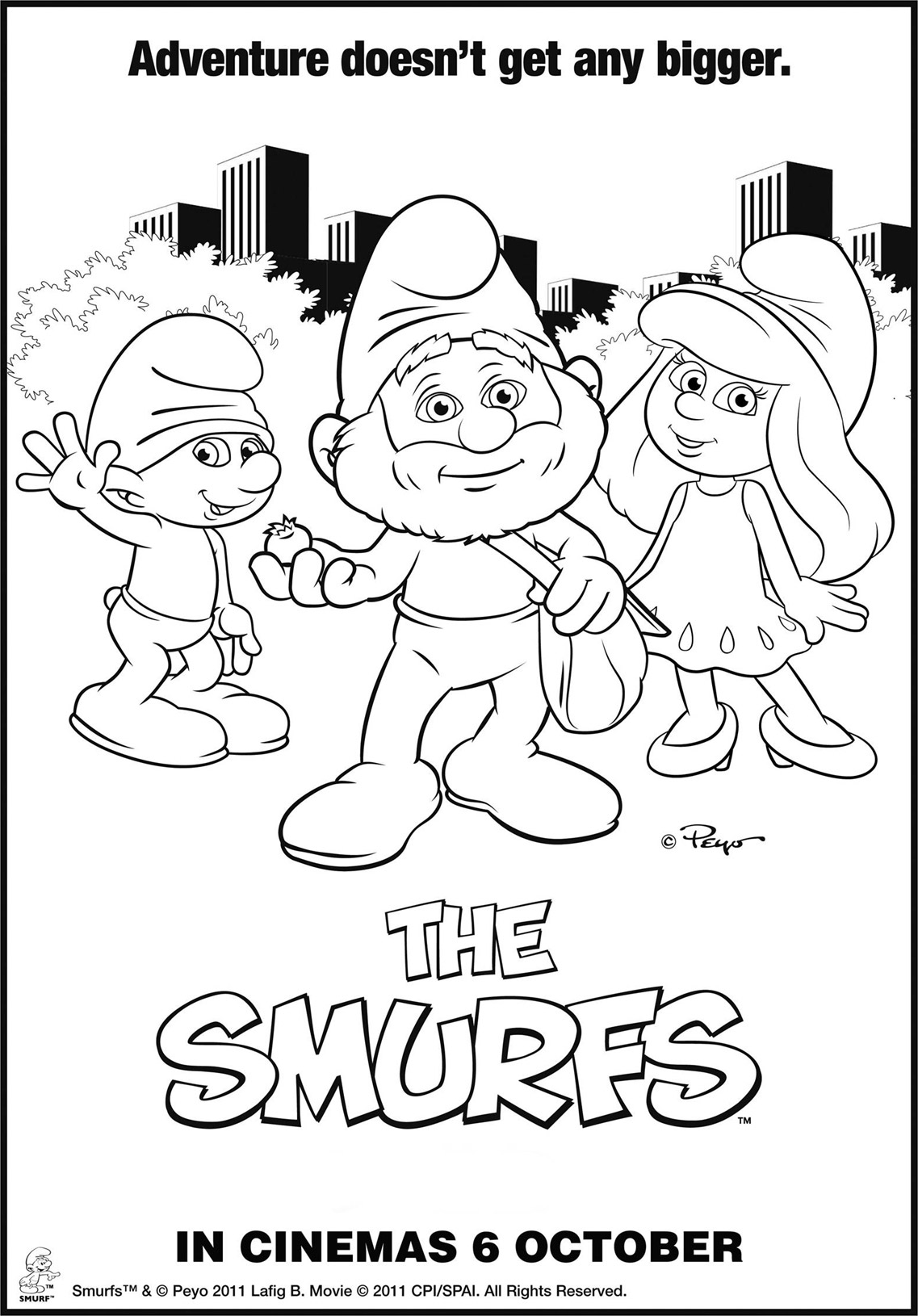 the smurfs coloring page