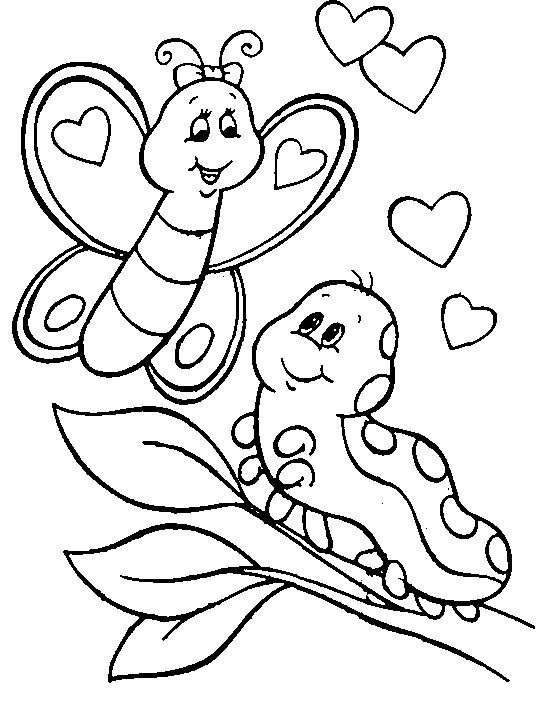 butterfly and caterpillar having a loving conversation - Weird Coloring Books