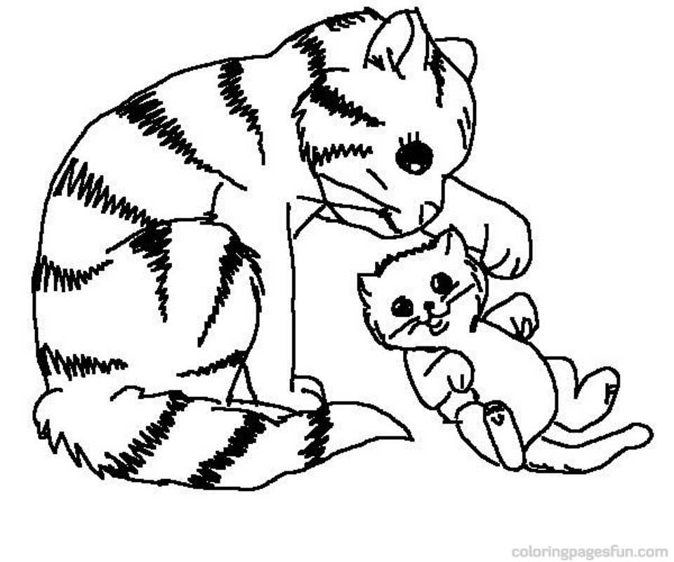 Kitten playing with mommy kitten coloring pages