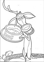 Elliot with Boog's food bowl coloring page