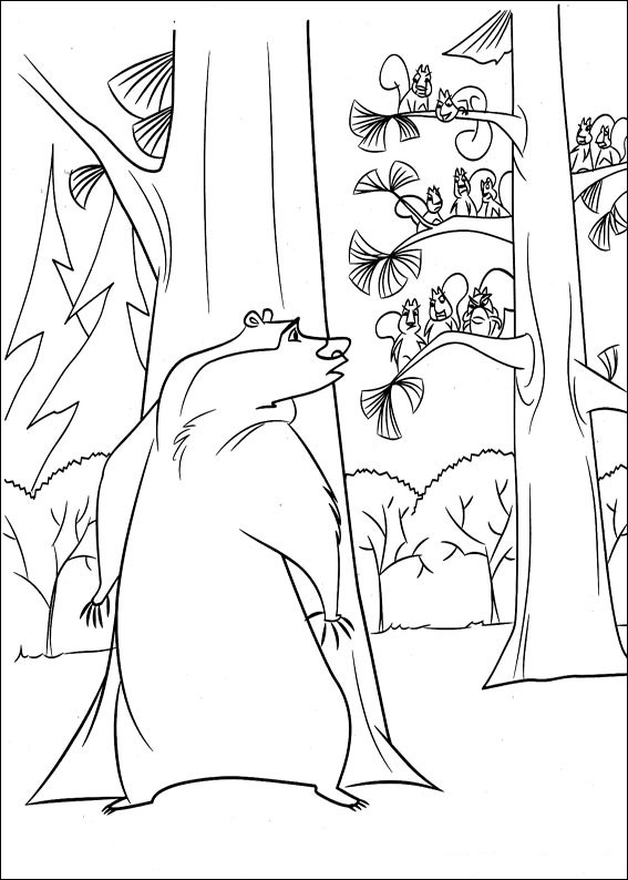 Boog in to the woods coloring page