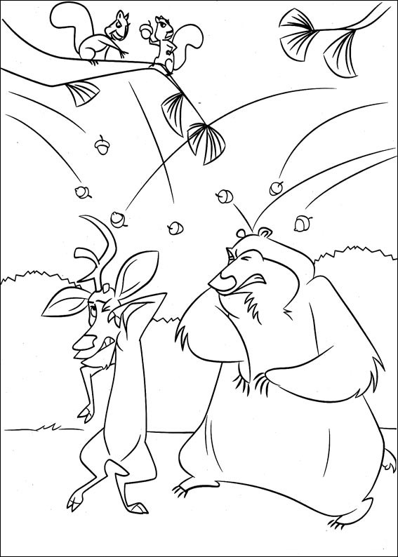 Boog & Elliot are beatted by the squearls coloring page