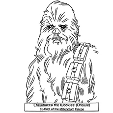 Chewbacca star wars prinable coloring page