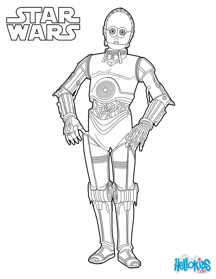 Star wars robot coloring page