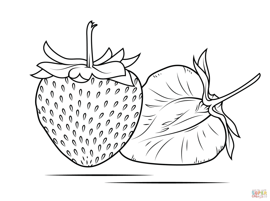splitted strawberry coloring page