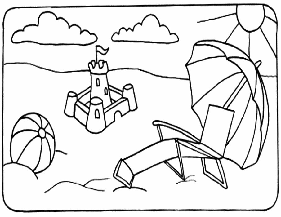 Beach and summer coloring pages
