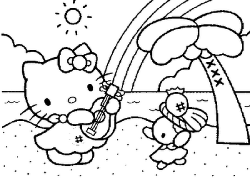 Hello kitty playing guitar on summer vaction
