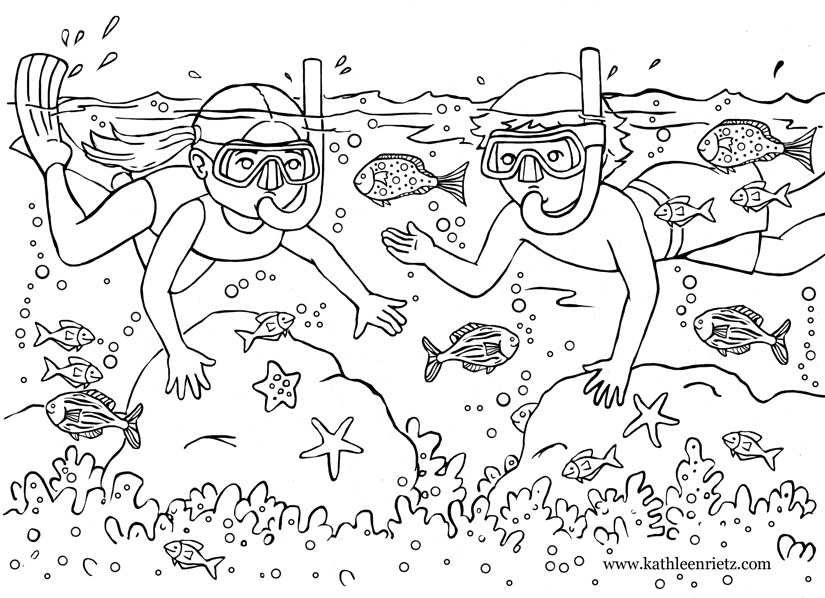 Coloring images Underwater dive for summer