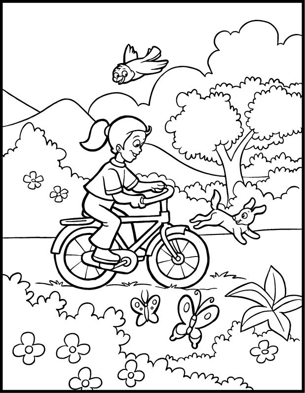 coloring page Cute little girl enjoying summer season