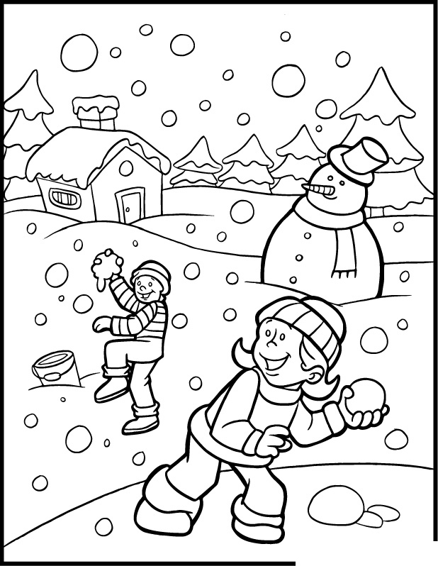 Winter Coloring Pages For Free Books Sledges Snowman Coloring