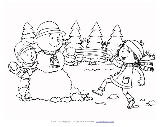 winter season view coloring page